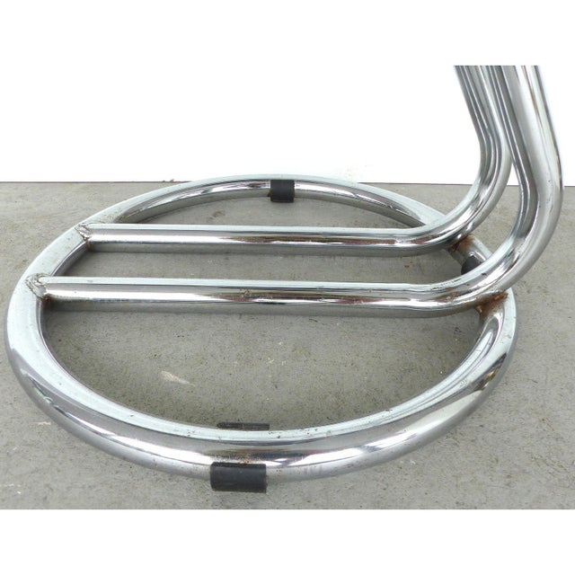 Silver Italian Mid-Century Modern Chrome Bar Stools - a Pair For Sale - Image 8 of 9