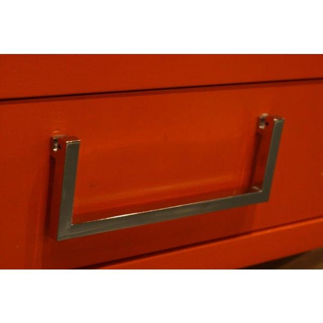 Campaign Milo Baughman Orange Lacquered Campaign Desk For Sale - Image 3 of 7