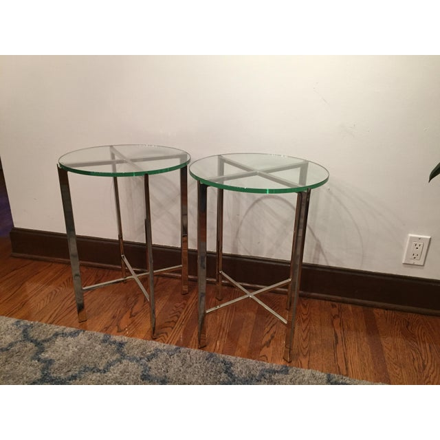 HD Buttercup Chrome & Glass Side Table - A Pair - Image 2 of 6
