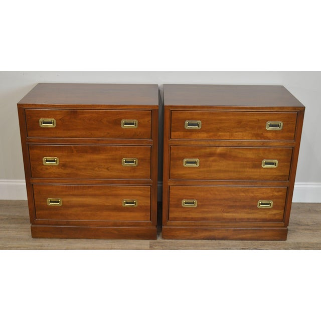 Traditional Ethan Allen Campaign Style Pair Solid Cherry 3 Drawer Chests Nightstands For Sale - Image 3 of 13