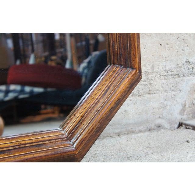 "1979 Henredon Oak Octogon Shaped Traditional Vanity Dresser Wall Mirror 48"" For Sale - Image 6 of 11"