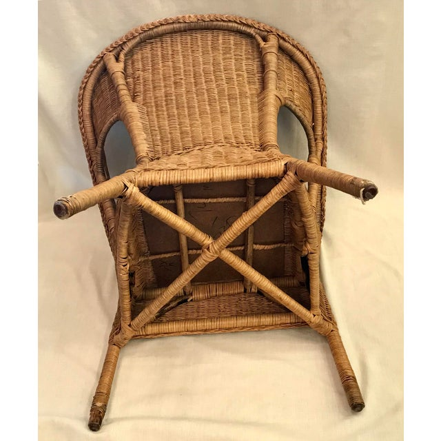 Late 20th Century Vintage Barrel Back Natural Wicker Chair For Sale - Image 10 of 13