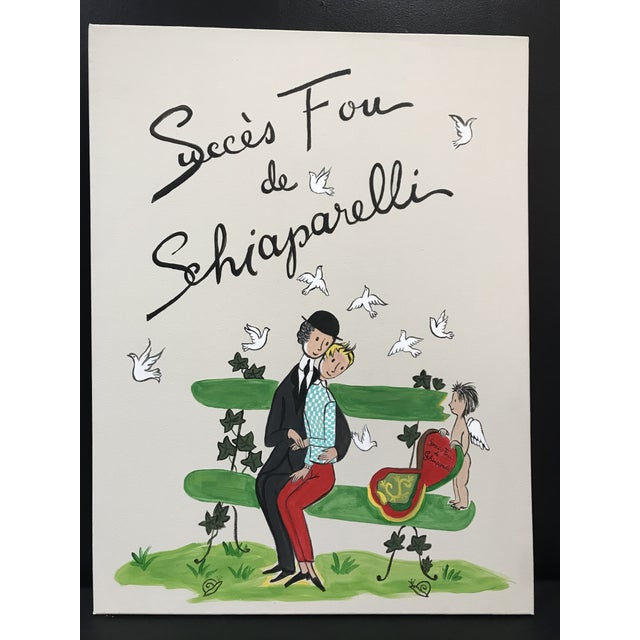 Schiaparelli Succes Fou De Fragrance Advertising Painting Peynet Style Attributed Marcel Vertes For Sale - Image 6 of 6