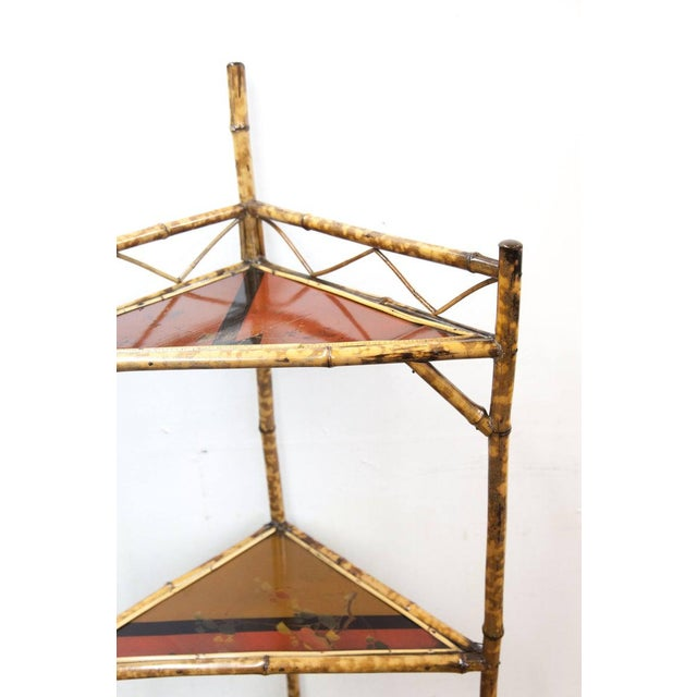 English Late 19th Century Bamboo & Lacquer Corner Stand For Sale - Image 3 of 8