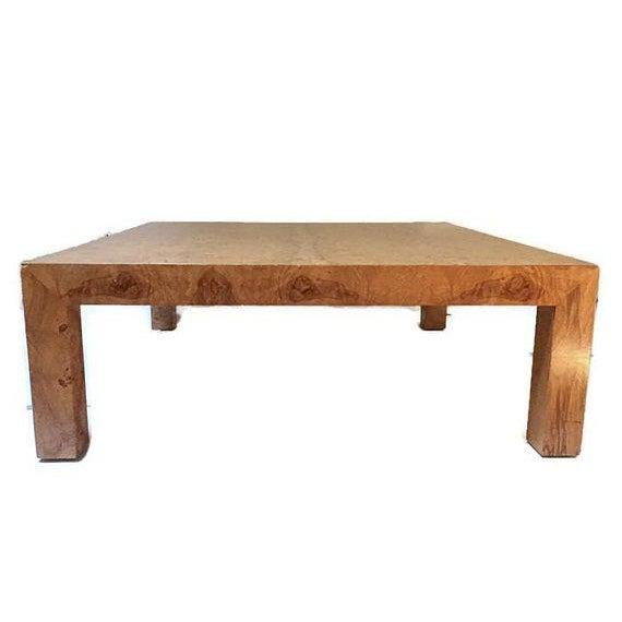 "Burl Coffee Table Mid Century: Mid Century Modern Burl Wood Coffee Table 42"" Parsons"