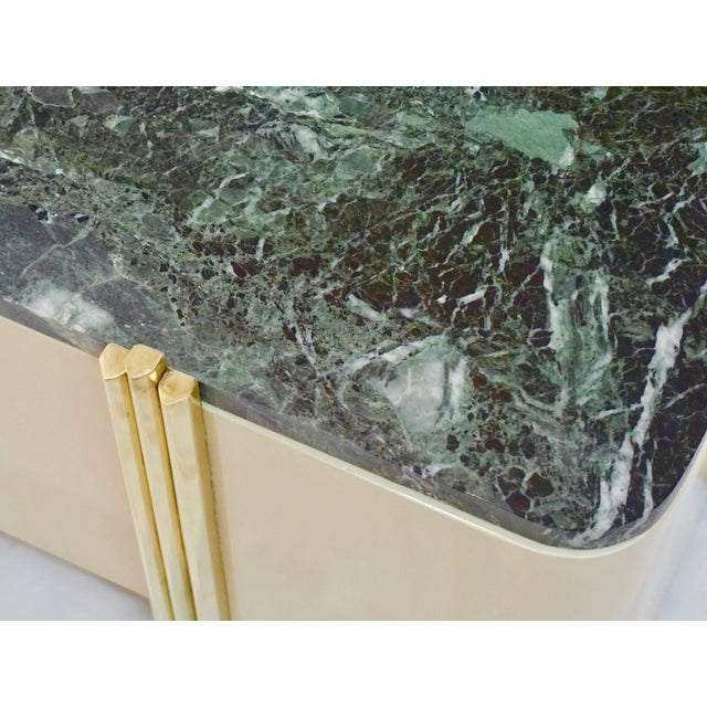 1970s 1970s Italian Cream White Lacquered & Green Marble Side Tables or Stools - a Pair For Sale - Image 5 of 10
