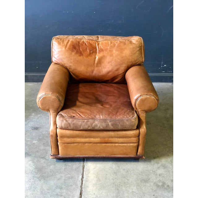 1980s Vintage Ralph Lauren Camel Leather Chair For Sale - Image 5 of 10