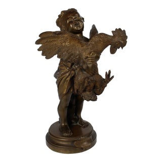 """""""Enfant au Coq"""" a Bronze Sculpture of a Child and Cock after Cecioni Adriano For Sale"""