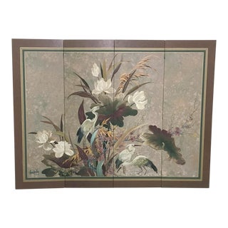 Vintage Hand Painted Asian Screen, Signed