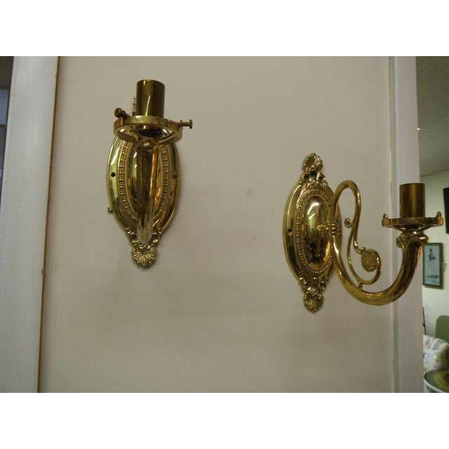 Vintage Brass Electric Wall Sconces - Pair - Image 2 of 8