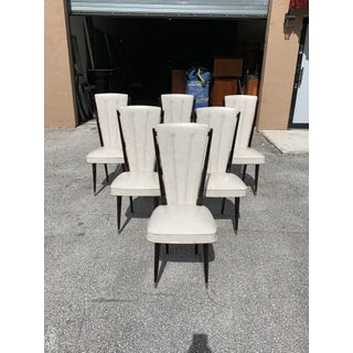 1940s Vintage French Art Deco Solid Mahogany Dining Chairs- Set of 6 Preview
