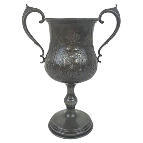 English Etched Pewter Loving Cup - Image 1 of 3