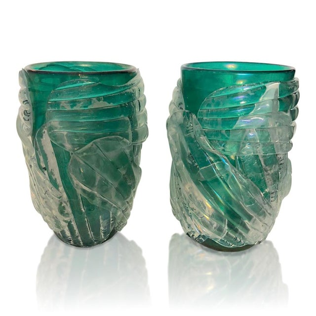 Emerald Italian Modern Iridescent Emerald Green Murano Glass Sculpture Vases - a Pair For Sale - Image 8 of 12