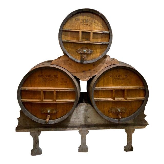 Continental Cognac Barrels - 5 Piece Set For Sale