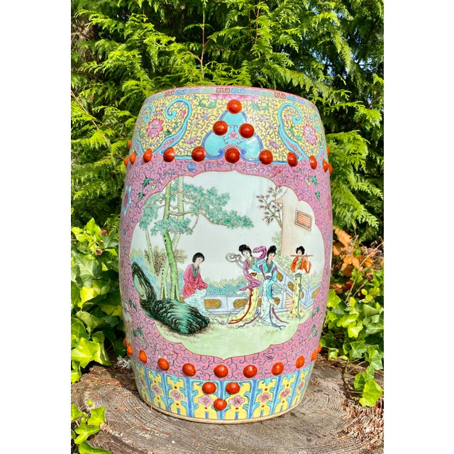 Vintage Mid-Century Chinese Famille Rose Porcelain Garden Seat For Sale - Image 13 of 13