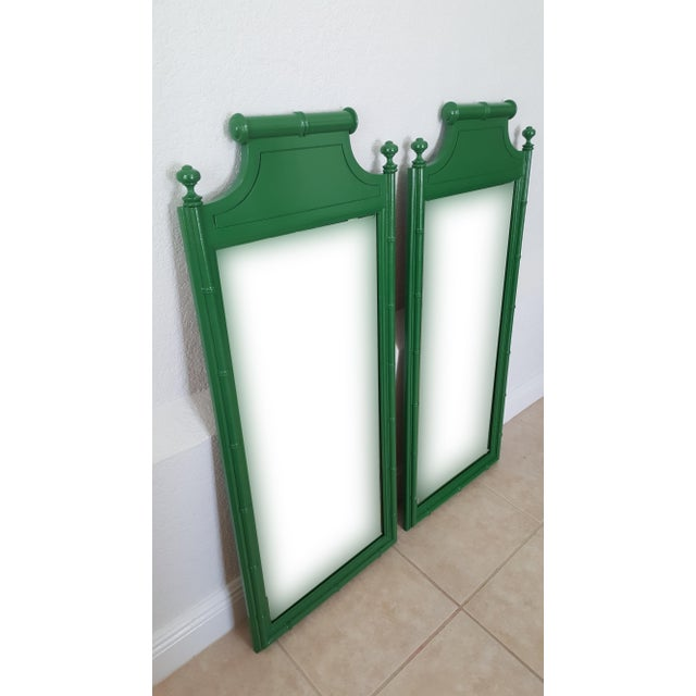 Hollywood Regency Henry Link Bali Hai Faux Bamboo High Gloss Green Dresser Mirrors - a Pair For Sale - Image 3 of 6