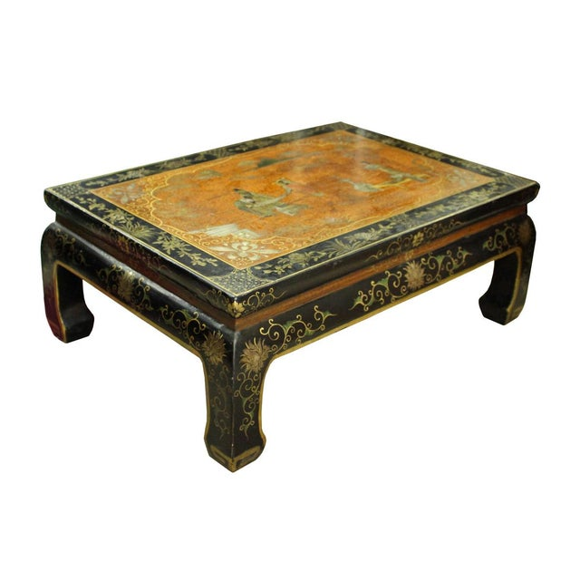 Chinese Brown Black Lacquer Scenery Kang Table Stand For Sale - Image 4 of 7