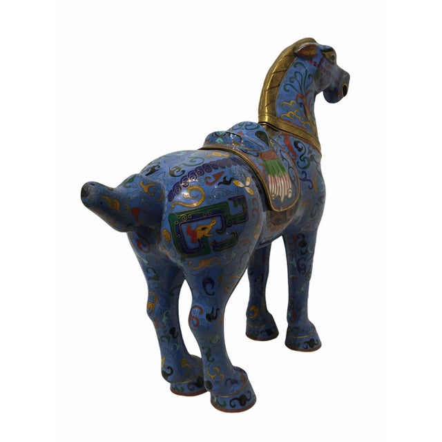 1940s Vintage Chinese Cloisonné Horse Statue For Sale - Image 5 of 13