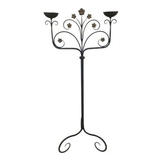 Hand Crafted Wrought Iron Tall Candlestick For Sale