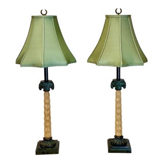1960s Neoclassical Maitland-Smith Bronze and Wood Ram Head Table Lamps - a Pair For Sale
