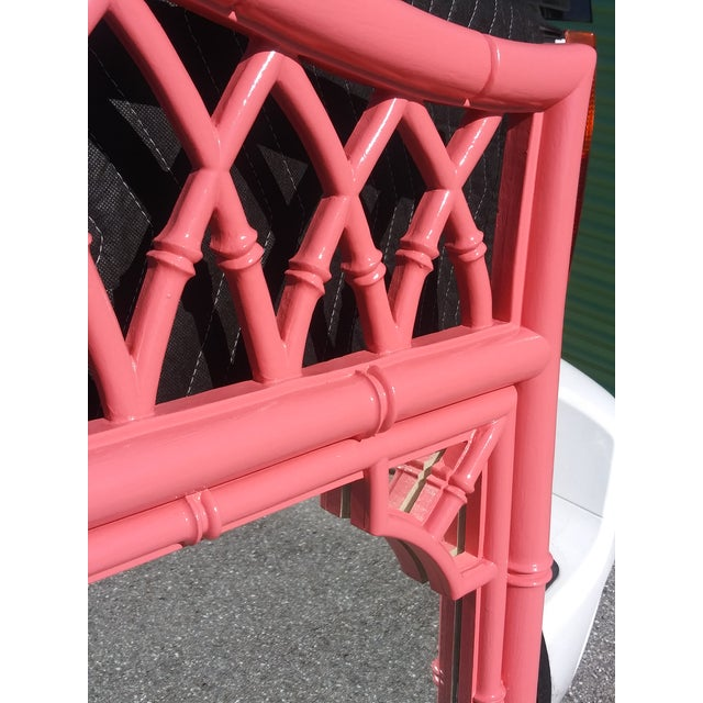 Chinoiserie Palm Beach Flamingo Pink Faux Bamboo Wall Mirror For Sale - Image 3 of 11
