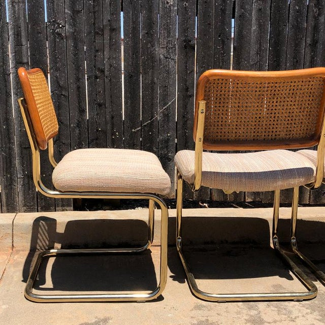 Gold 1980s Vintage Cantilever Cane Marcel Breuer Style Tubular Dining Chairs Upholstered Seats Set of 6 For Sale - Image 8 of 13