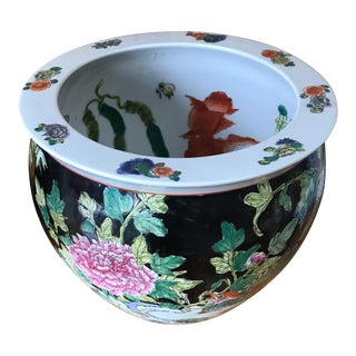 Chinese Floral Fish Bowl For Sale