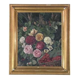 1885 Floral Still Life Oil Painting by Carl Carlson, Framed For Sale