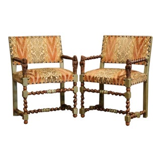 Pair of 19th Century French Louis XIII Walnut Painted Barley Twist Armchairs