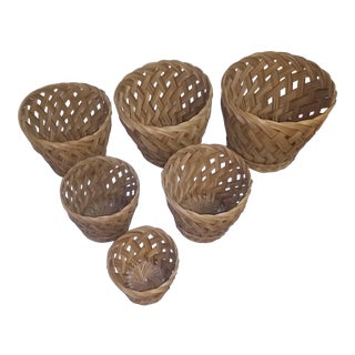 Vintage Stacking Woven Baskets - Set of 6 For Sale