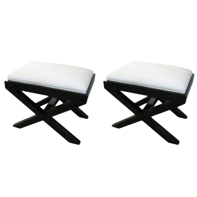 Pair of Custom Ebonized X-Frame Benches For Sale