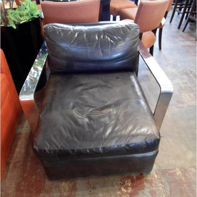 Ralph Lauren Black Saddle Leather Chair - Image 2 of 6
