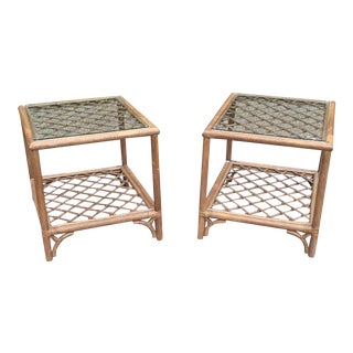 Ficks Reed Rattan Glass Top Tables - A Pair