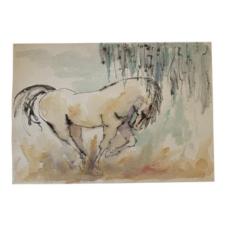 Original Vintage Mid Century Watercolor Painting Horse For Sale