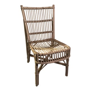 White Painted Wicker and Rattan Side Chair For Sale