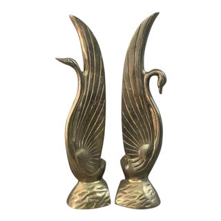 Vintage Brass Art Deco Swan Bookends - a Pair
