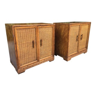 Mid Century Bamboo and Rattan Cabinets - A Pair