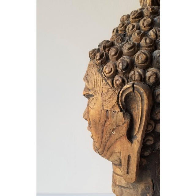 Vintage Hand Carved Wooden Buddha Head For Sale In Seattle - Image 6 of 9