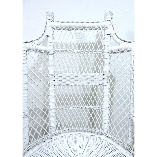 Mid 20th Century Vintage White Wicker and Cane High Back Conservatory Armchairs - a Pair For Sale - Image 5 of 7