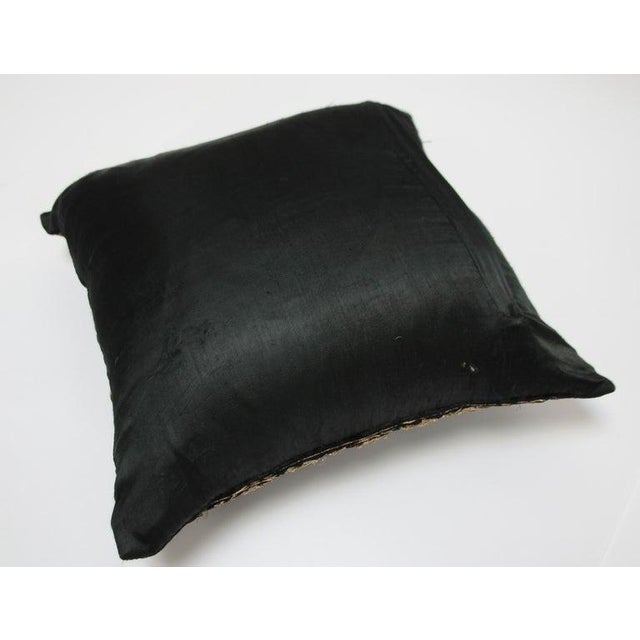 1980s Black Velvet Throw Pillow Embroidered With Metallic Gold Threads For Sale - Image 5 of 13