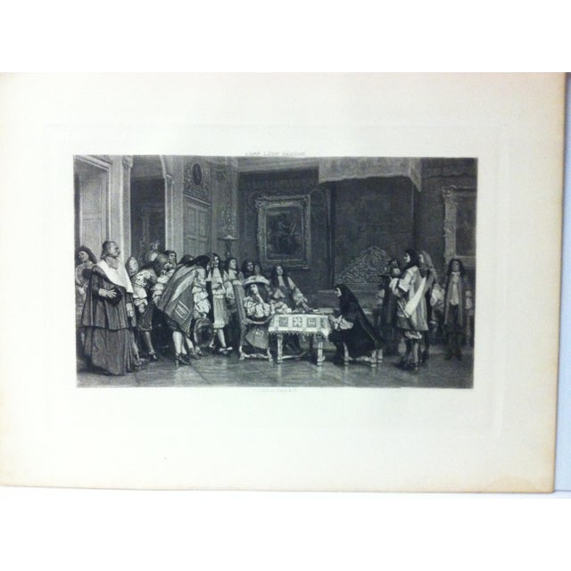 """This is an antique photogravure on paper that is titled """"Moliere at Breakfast - with Louis XVI"""" by Jean Leon Gerome. The..."""
