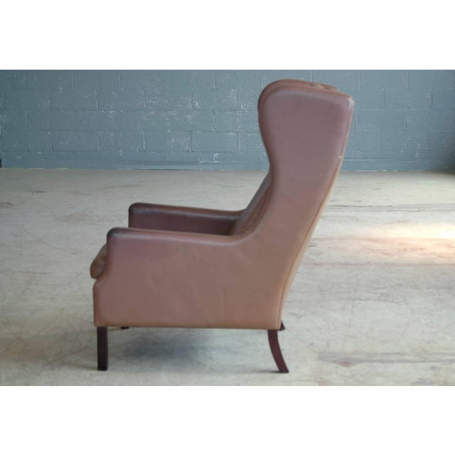 Wood Georg Thams Wingback Chair in Cappuccino Colored Leather Borge Mogensen Style For Sale - Image 7 of 9