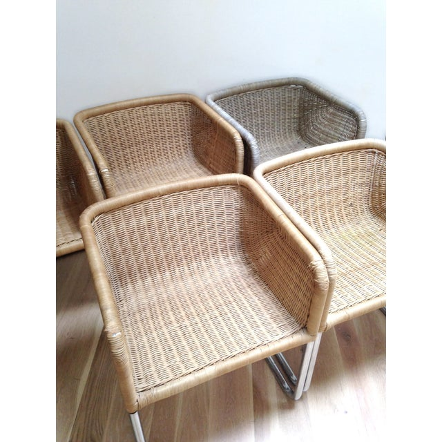 Harvey Probber Wicker & Chrome Chairs- Set of 6 - Image 4 of 7