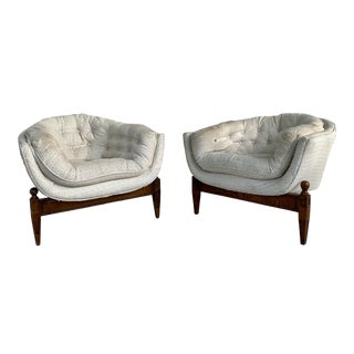 Adrian Pearsall Designed Tufted Three Legged Lounge Tub Chairs - a Pair For Sale