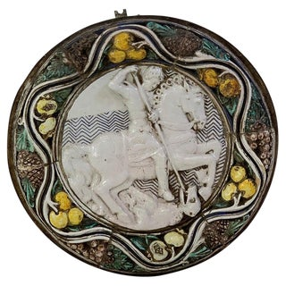 "Massive Italian Della Robbia Style Plaque ""St. George"" With Iron Mounting Frame For Sale"