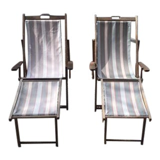 Vintage Beach Chaises With Attached Footrests