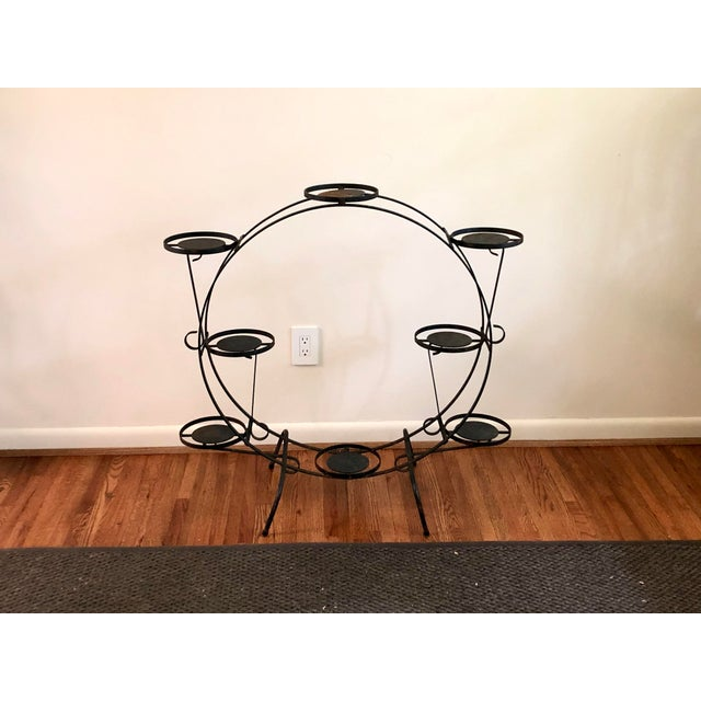 1930s Art Deco Circular Iron Plant Stand For Sale - Image 10 of 11