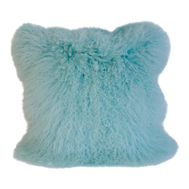 Caribbean Blue Curly Lamb Pillow For Sale