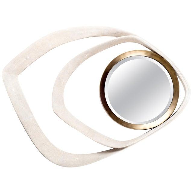 Matrix Mirror in Cream Shagreen and Bronze-Patina Brass by R&y Augousti For Sale