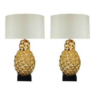 Marbro Italian Ceramic Pineapple Table Lamps Gold For Sale